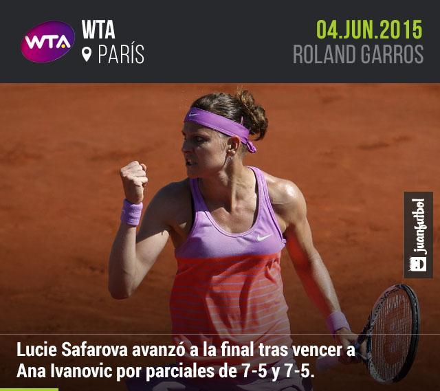 Lucie Safarova sigue sorprendiendo sobre la tierra batida de París y finiquitó a Ana Ivanovic