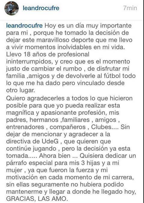 Leandro Cufré anunció su retiro