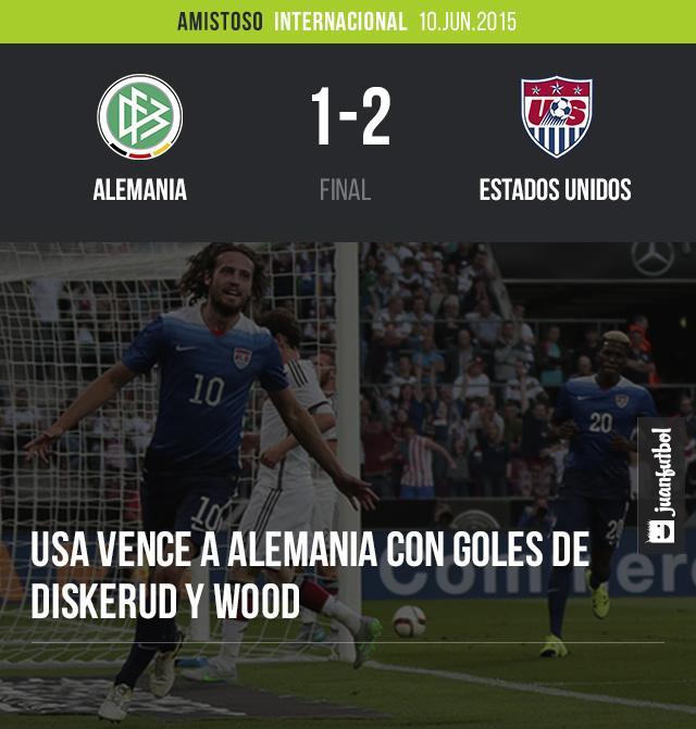 Estados Unidos vence 2-1 a Alemania con goles de Diskerud y Wood. Mario Götze descontó por los locales