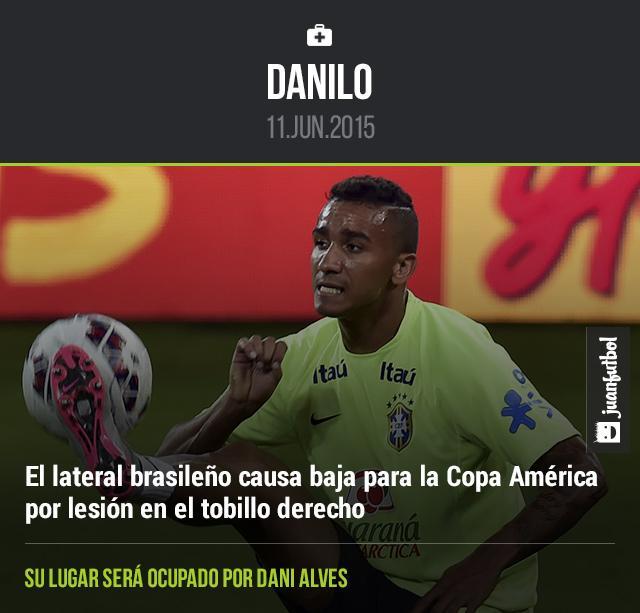 Danilo causa baja de la Selección de Brasil por lesión en el tobillo derecho, su lugar será ocupado por Dani Alves