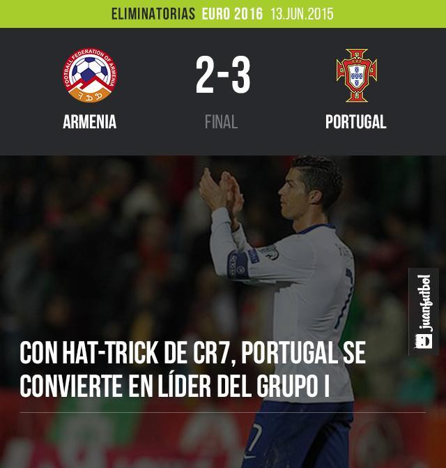 Portugal vence 3-1 a Armenia con Hat-trick de Cristiano Ronaldo. Es líder del Grupo I