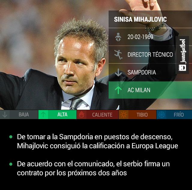 Sinisa Mihajlovic, nuevo técnico del AC Milan