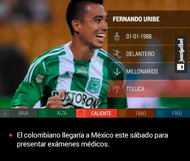 Fernando Uribe cerca de fichar con Toluca