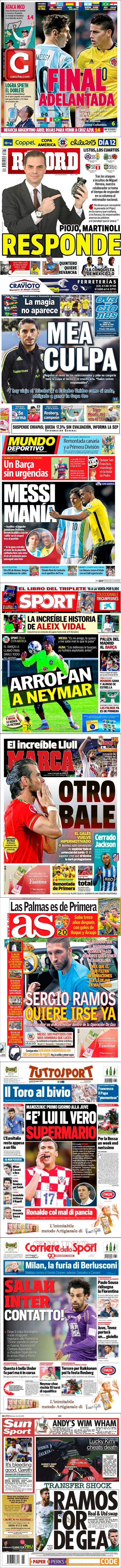 La prensa deportiva más importante del 22 de junio de 2015.