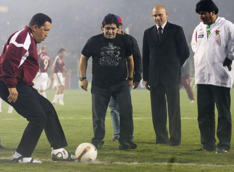 Hugo Chávez, Evo Morales y Diego Armando Maradona