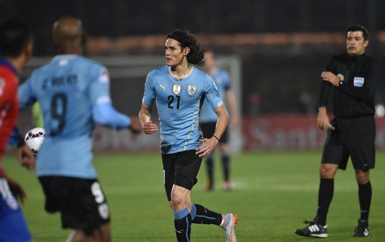 Edinson Cavani, expulsado con Uruguay ante Chile