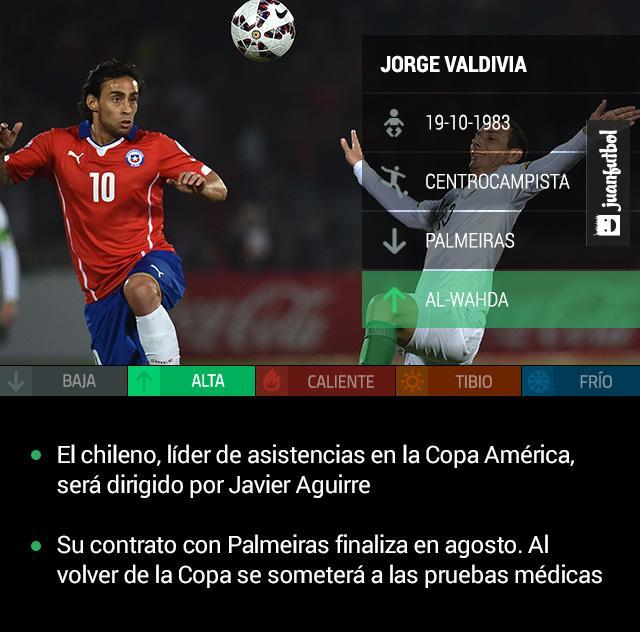 Valdivia llega al Al Wahda, equipo de Emiratos Árabes dirigido por Javier Aguirre
