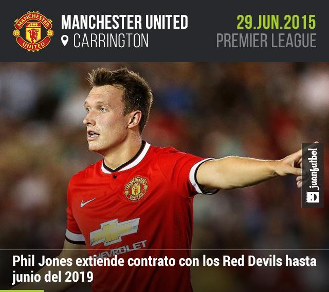 Phil Jones extiende contrato con el Manchester United hasta el 2019