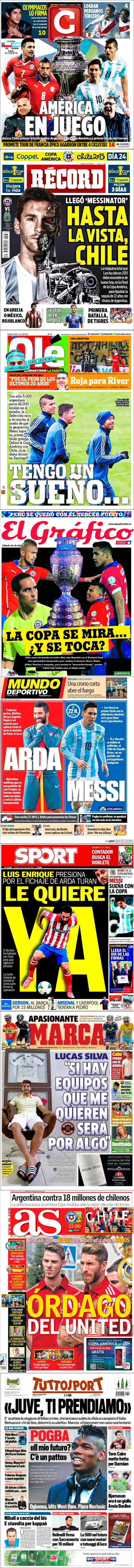 La prensa deportiva más importante del 4 de julio de 2015.