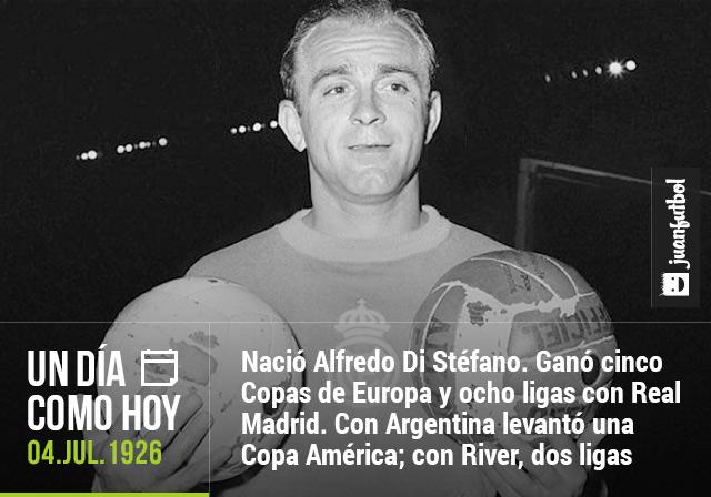 Alfredo Di Stéfano, leyenda del Real Madrid, nació un 4 de julio de 1926