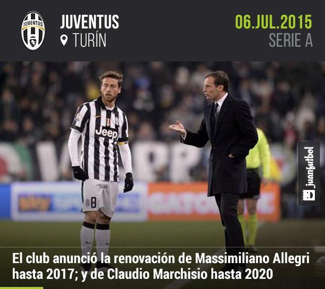 El club italiano, Juventus, anunció la renovación de Claudio Marchisio hasta 2020; y de Massimiliano Allegri hasta 2017.