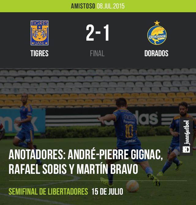 Tigres cierra su preparación rumbo a semifinal de Libertadores con triunfo 2-1 sobre Dorados, con gol de Gignac