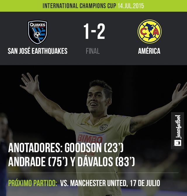 América venció 2-1 a San José Eartquakes en partido de la International Champions Cup