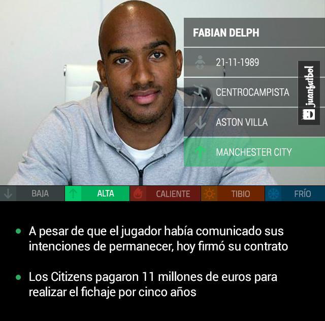 Fabian Delph, refuerzo del Manchester City desde el Aston Villa