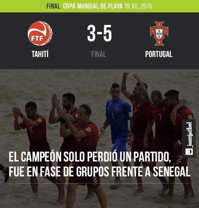 Portugal se proclama campeón del mundo en el futbol de playa. Vence 3-5 a Tahití.