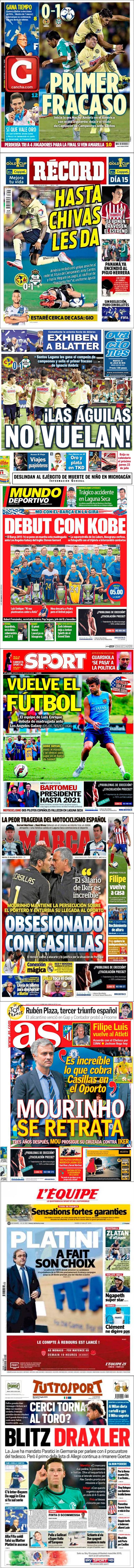 La prensa deportiva más importante del 21 de julio de 2015.