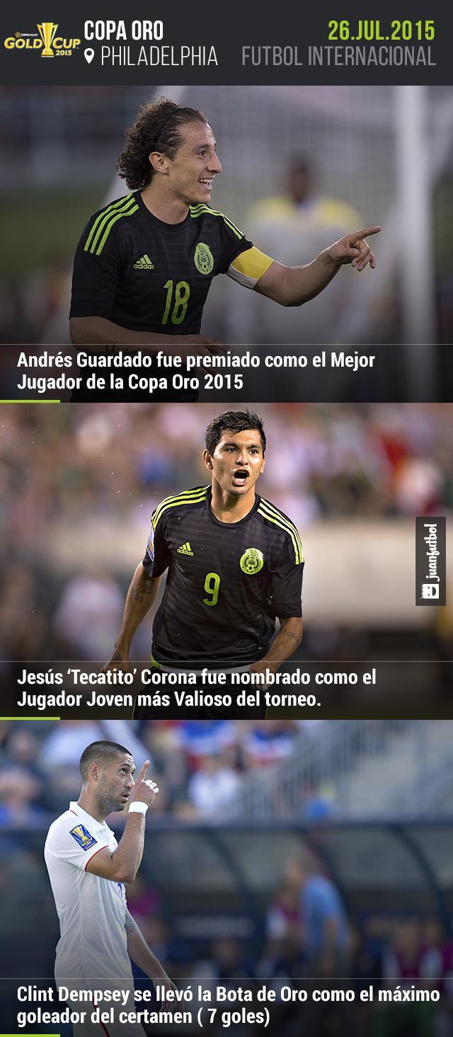 Andrés Guardado y Jesús Tecatito Corona recibieron premios como Mejor Jugador y Jugador  más Valioso de la Copa Oro, respectivamente