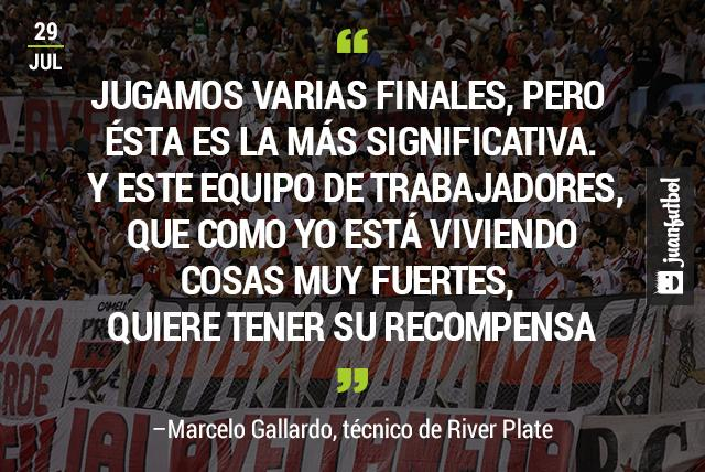 Gallardo, técnico de River, declara que la final ante Tigres es la más significativa