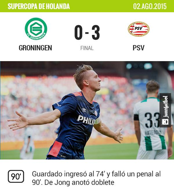 PSV vence al Groningen por 3-0 en la Supercopa de Holanda, Guardado falló un penal al 90' e ingresó al 74'.