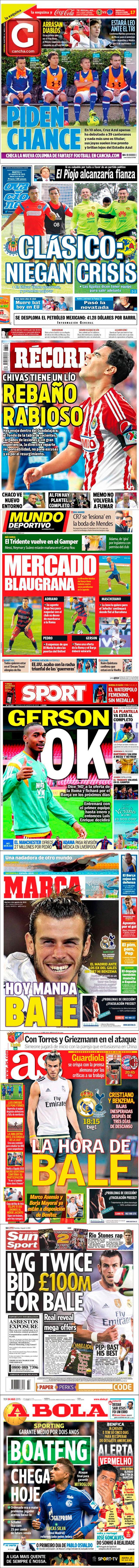 La prensa deportiva más importante del 4 de agosto de 2015.