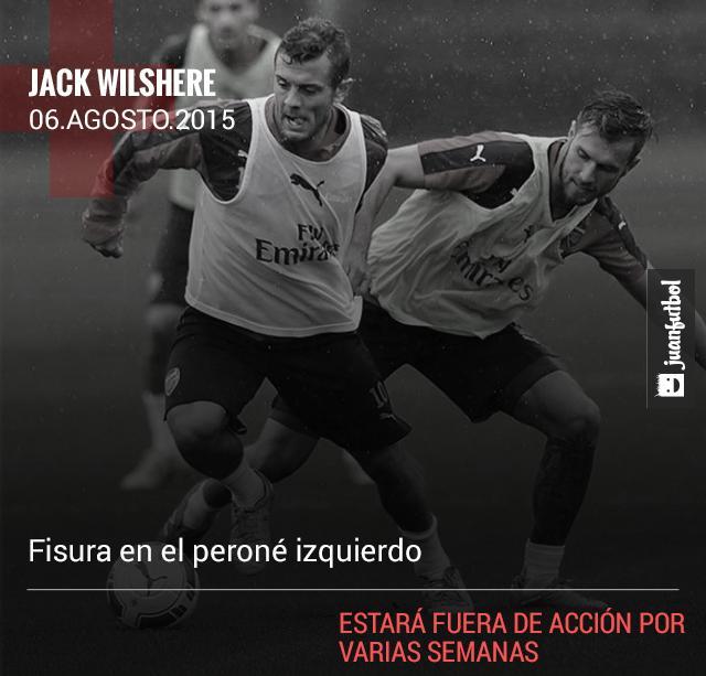Jack Wilshere se lesiona en entrenamiento