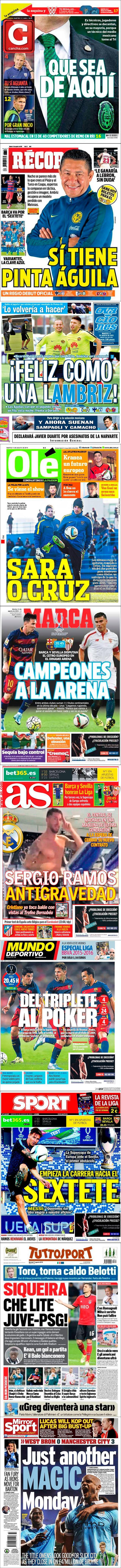 La prensa deportiva más importante del martes 11 de agosto de 2015.