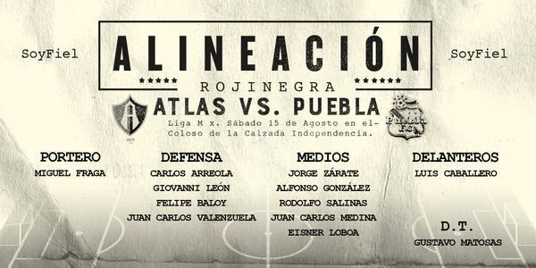 Alineación del Atlas vs. Puebla