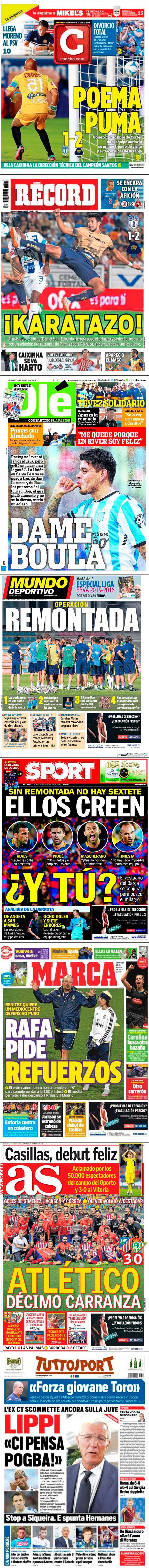 La prensa deportiva más importante del 16 de agosto de 2015.