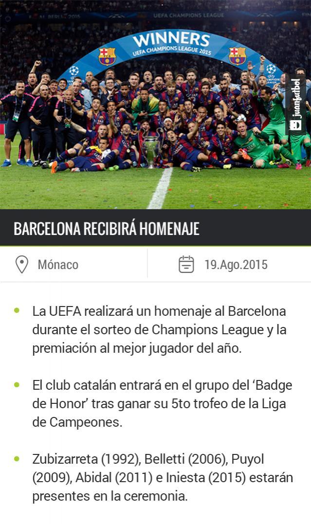 Barcelona será homenajeado durante el sorteo de Champions League