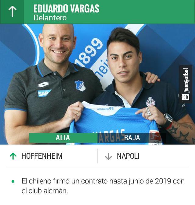 Vargas, delantero chileno, llegará al Hoffenheim de la Bundesliga.