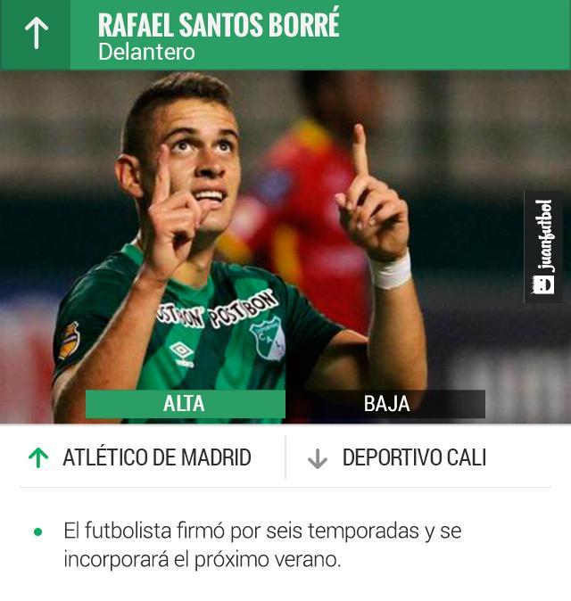 Rafael Borré, delantero colombiano es fichado por el Atlético de Madrid.