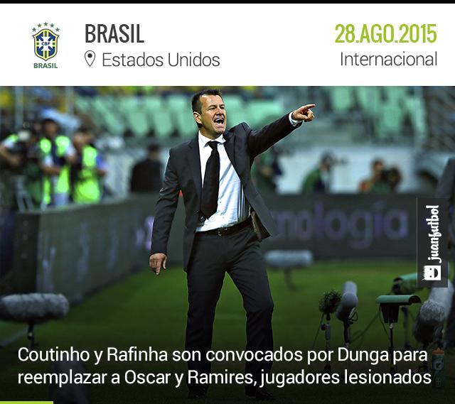 Dunga convoca a Coutinho y Rafinha para reemplazar las bajas de Oscar y Ramires, jugadores lesionados.