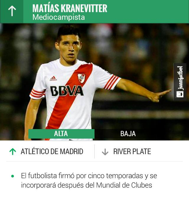 Matías Kranevitter será jugador del Atlético de Madrid en diciembre, se quedará con River Plate para jugar el Mundial de Clubes.