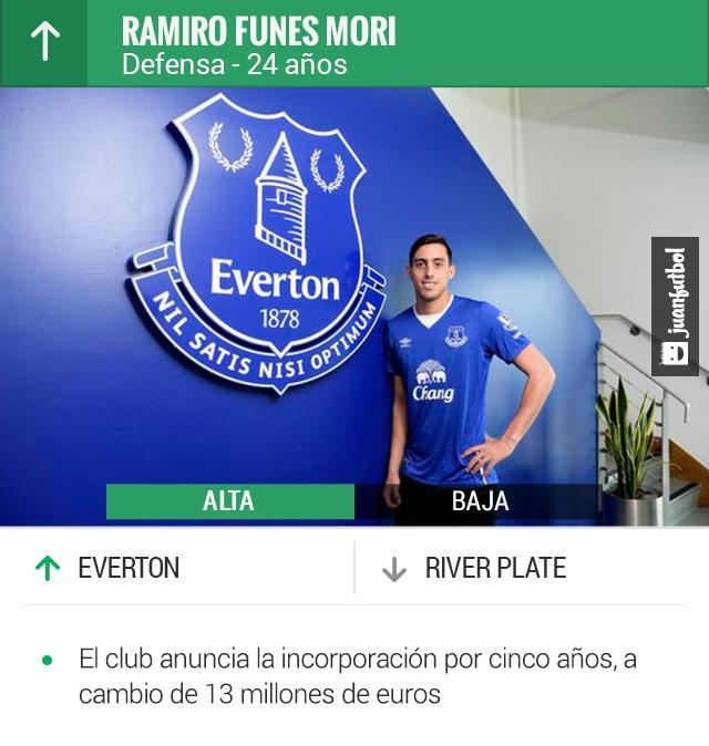Ramiro Funes Mori, refuerzo del Everton
