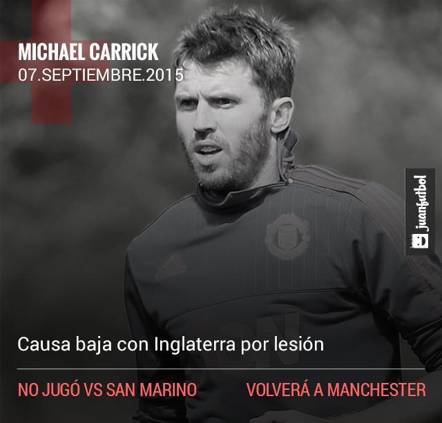Carrick causa baja de la Selección de Inglaterra por lesión
