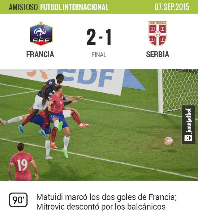 Francia venció 2-1 a Serbia