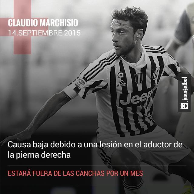 Marchisio es baja de la Juventus por un mes debido a una lesión en la pierna derecha