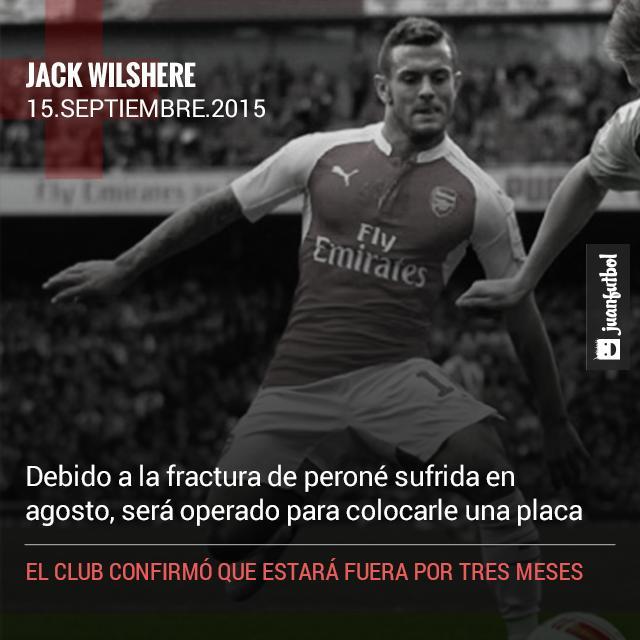 Arsenal anuncia la baja de Jack Wilshere debido a que será operado