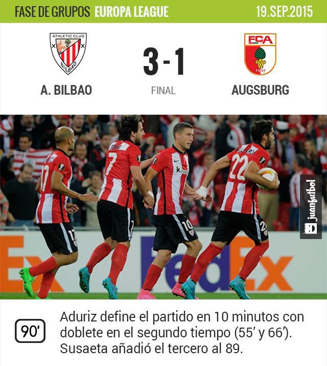 Athletic Bilbao logra sus primeros tres puntos en la Europa League