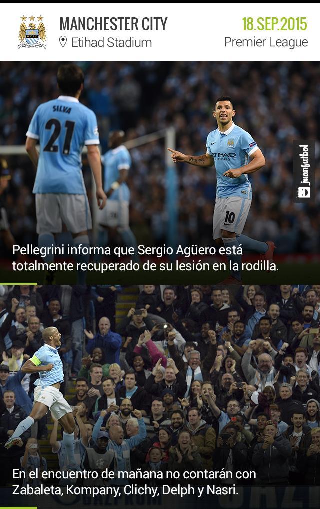 Pellegrini informa que Agüero está completamente recuperado de su lesión, pero anuncia la baja de Kompany.