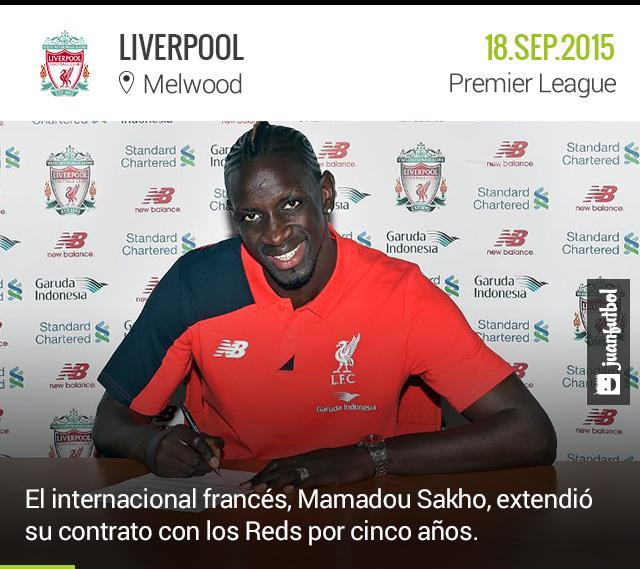 Mamadou Sakho ha extendido su contrato con el Liverpool hasta 2020.