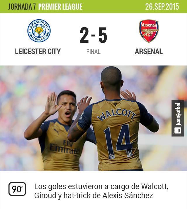 Arsenal golea 5-2 al Leincester City. Alexis Sánchez marcó un hat-trick