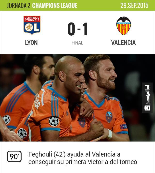 Feghouli anota el gol definitivo para el Valencia
