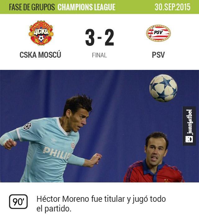 Héctor Moreno no pudo ayudar a su equipo