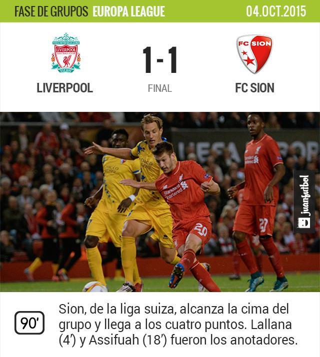 Liverpool y FC Sion empatan 1-1 en la segunda jornada de la Europa League