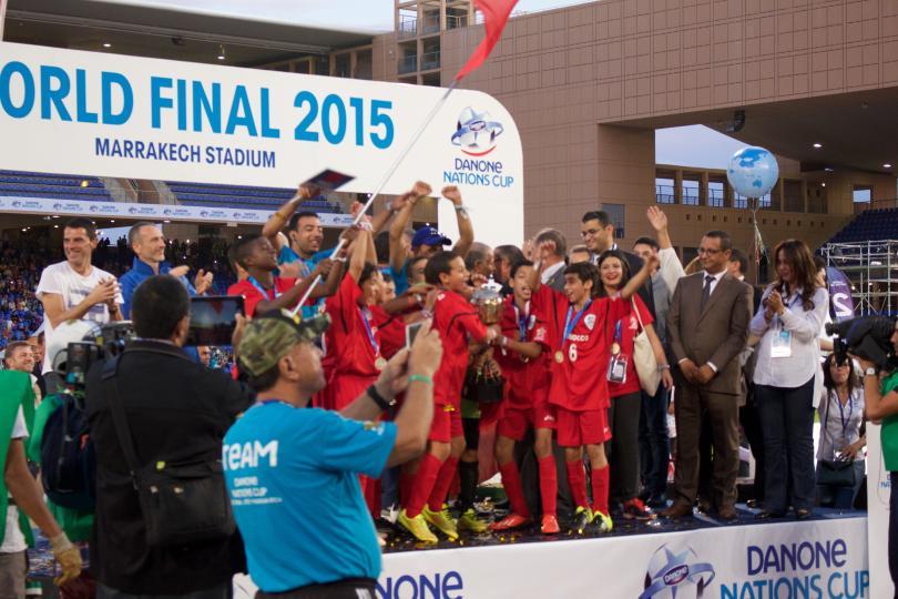 Marruecos festejando el título de la Danone Nations Cup.