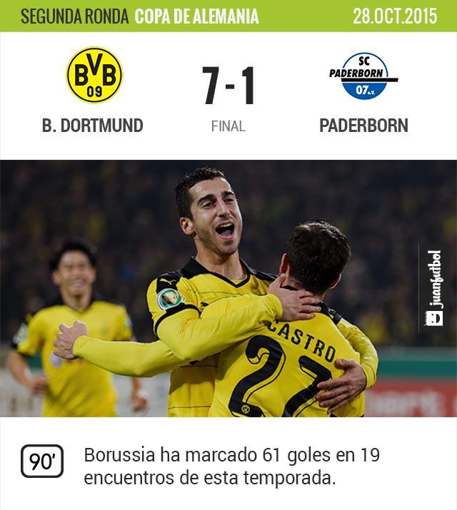 Borussia Dortmund vence 5-1 al Paderborn en Copa de Alemania