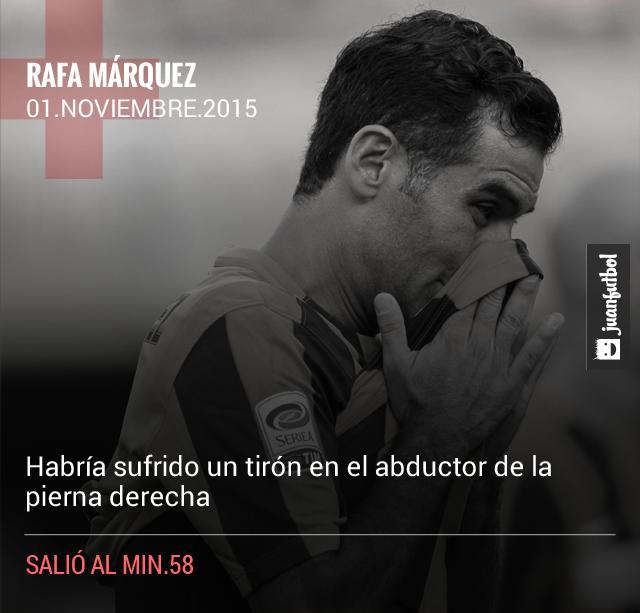 Rafa Márquez se lesiona frente al Carpi.