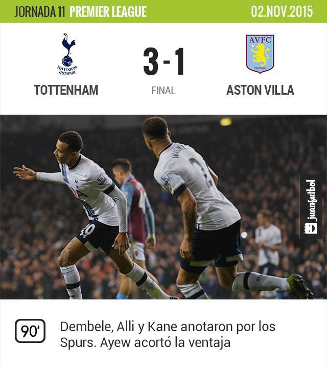 Tottenham vence 3-1 al Aston Villa en la jornada 11 de la Premier League
