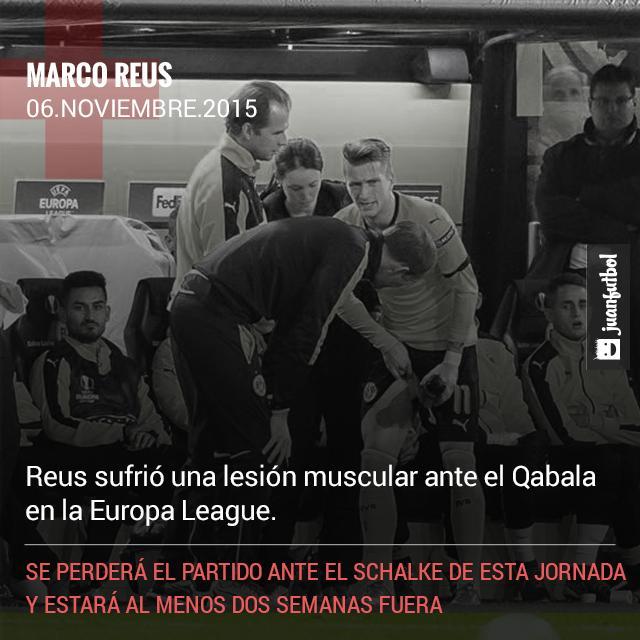 Marco Reus no podrá enfrentarse al Schalke 04 por una lesión muscular